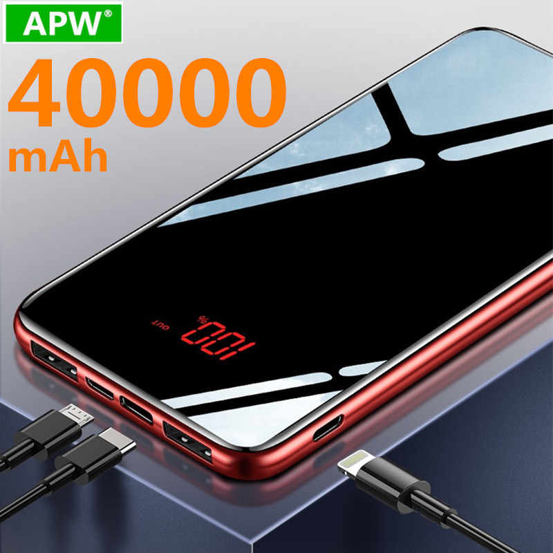 Power Bank 40000 MAh untuk Xiaomi Samsung Iphone Huawei Powerbank Portable Mini Dual USB Pengisian Kemasan Baterai Eksternal Bank