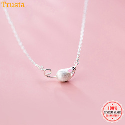 Trusta Fashion Necklace 925 Sterling Silver Sweet Cute Animal Mouse Pendant Short Necklace For Women Wedding Jewelry Gift DA557