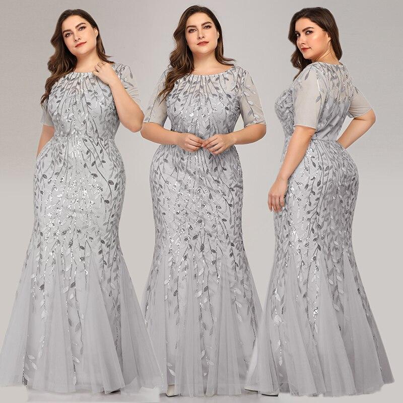 Queen Abby Вечерние платья Русалка с блестками Кружева Аппликации Элегантное Длинное платье русалки платье вечерние платья размера плюс - Цвет: Silver1