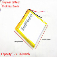 3.7V 2600mAh 605555 Lithium Polymer Li-Po li ion Rechargeable Battery cells For Mp3 MP4 MP5 GPS mobile bluetooth