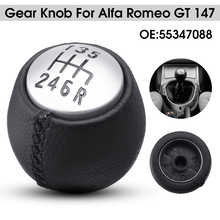 6 Speed Car Manual Gear Shift Knob PU Leather Lever Shifter Handball For Alfa Romeo GT 147 166 cheap Autoleader 4 5cm PU Leather Plastic 100g Auto Shifter Hand Ball