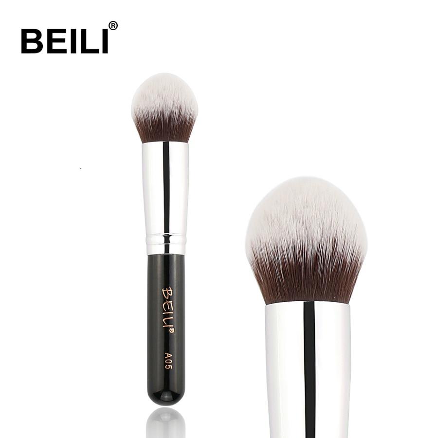 Pincel kabuki para maquiagem, pincel macio denso cinza sintético, em pó, base, blush, contorno, 1 peça