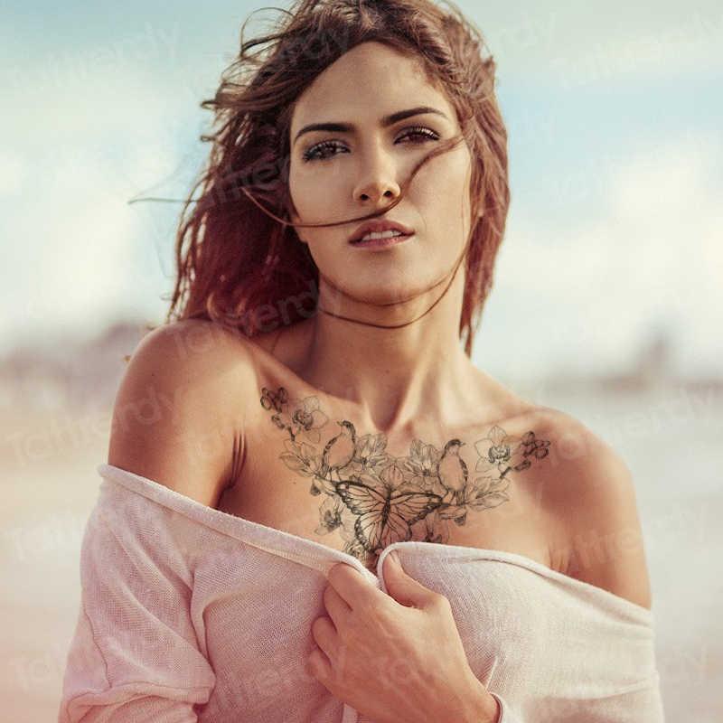 섹시한 임시 문신 underboob 목 문신 유방 쥬얼리 스티커 문신 헤나 레이스 꽃 모델 문신 방수 여성
