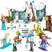 2019 Elsa Anna Romantic Castle Model Building Blocks Cinderella Princess Castle City Set Friends B849 203pcs friends vet clinic princess anna and kristoff s sleigh model set building blocks friends gifts toys princess