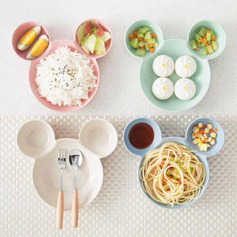 Juego de vajilla de dibujos animados para niños plato de alimentación para niños tazón de entrenamiento y cuchara