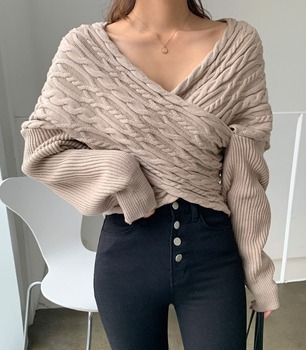 20 autumn and winter new loose  V-neck cross-sexy strapless top design sense twist sweater women twist front v neck striped top