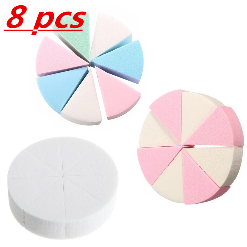 8Pcs Pack Triangle Shaped Candy Color Soft Face Cleaning Pad Puff Cosmetic Puff Clean Sponge Wash Face Makeup Sponge Gifts