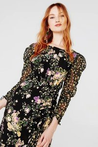 Image 4 - Ross midi dress women 2019 autumn new floral print puff sleeve backless plus size split dress