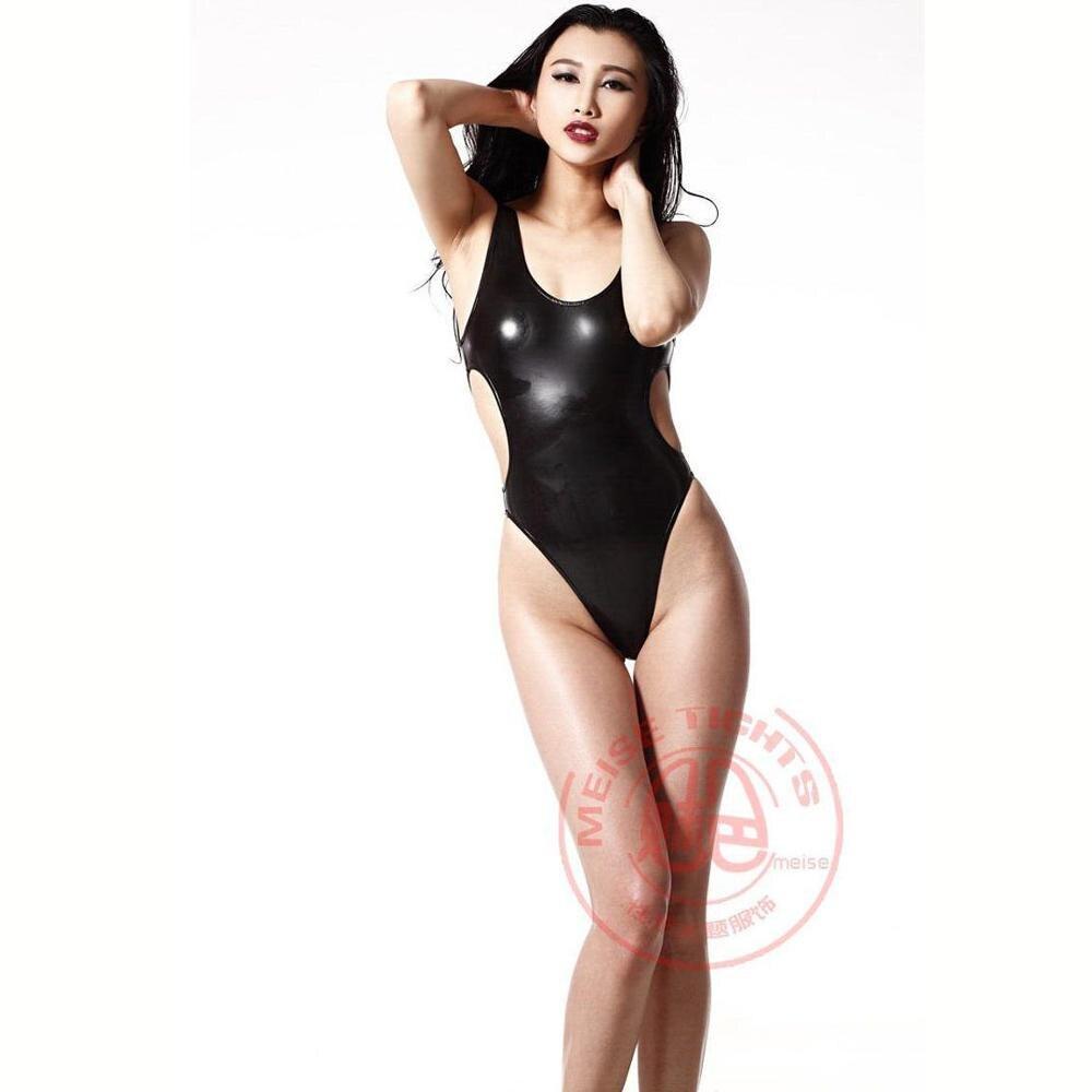 Plus Size Big U Neck Backless Sexy Black Bodysuits High Cut Thong Bikini Swimwear Monokini PU Latex Catsuit Body Sculpting Suit