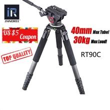 RT90C ברמה העליונה סיבי פחמן חצובה מקצועי צפרות כבד החובה מצלמה stand 40mm צינור 40kg עומס 75mm קערת מתאם