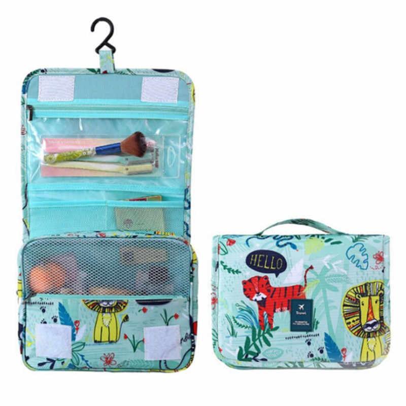 Подвесная косметичка для путешествий, женская косметичка на молнии, сумка для макияжа из полиэстера, вместительный чехол для макияжа, сумка-Органайзер для хранения, сумка для ванной