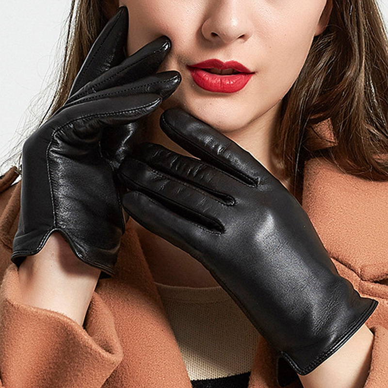 Fashion Gloves PU Leather Women Gloves Waterproof Thick Warm Spring Winter Mittens Christmas Gifts