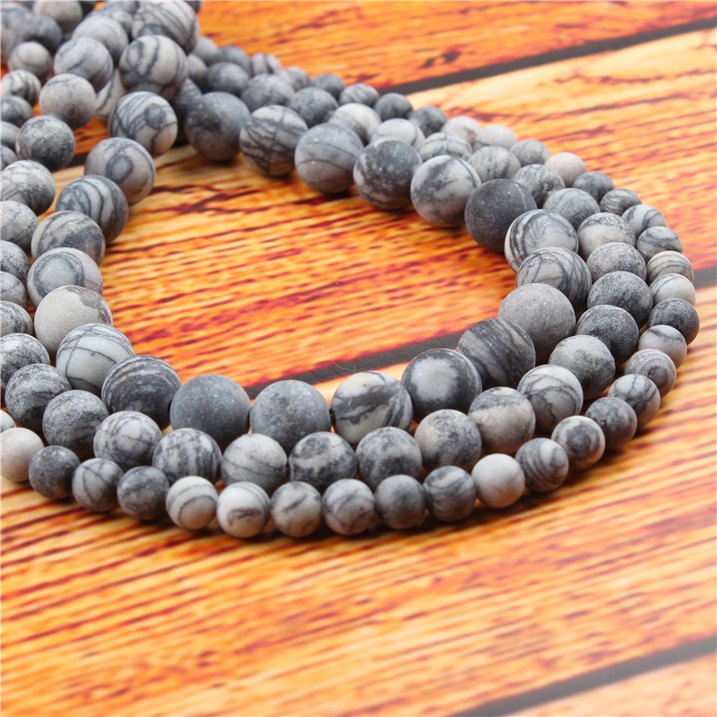 Black Network Natural Stone Bead Round Loose Spaced Beads 15 Inch Strand 4/6/8/10/12mm For Jewelry Making DIY Bracelet