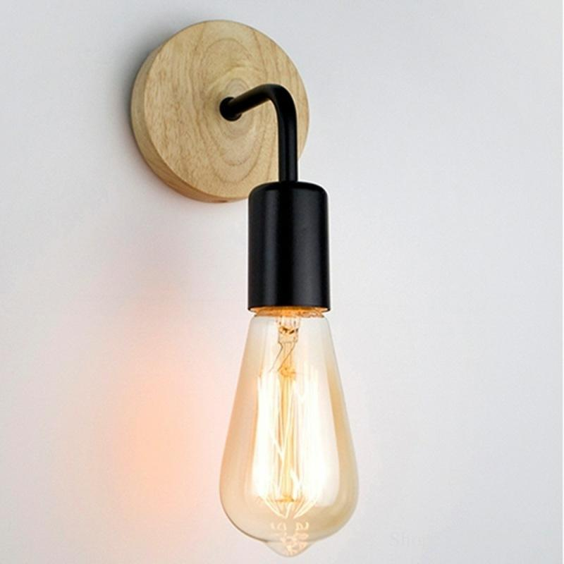 <font><b>Vintage</b></font> Retro <font><b>Wood</b></font> <font><b>Wall</b></font> Light Nordic Industrial Decor Loft <font><b>Wall</b></font> <font><b>Lamp</b></font> Living Room Home Indoor <font><b>Wall</b></font> Light Modern Led <font><b>Wall</b></font> Lighting image