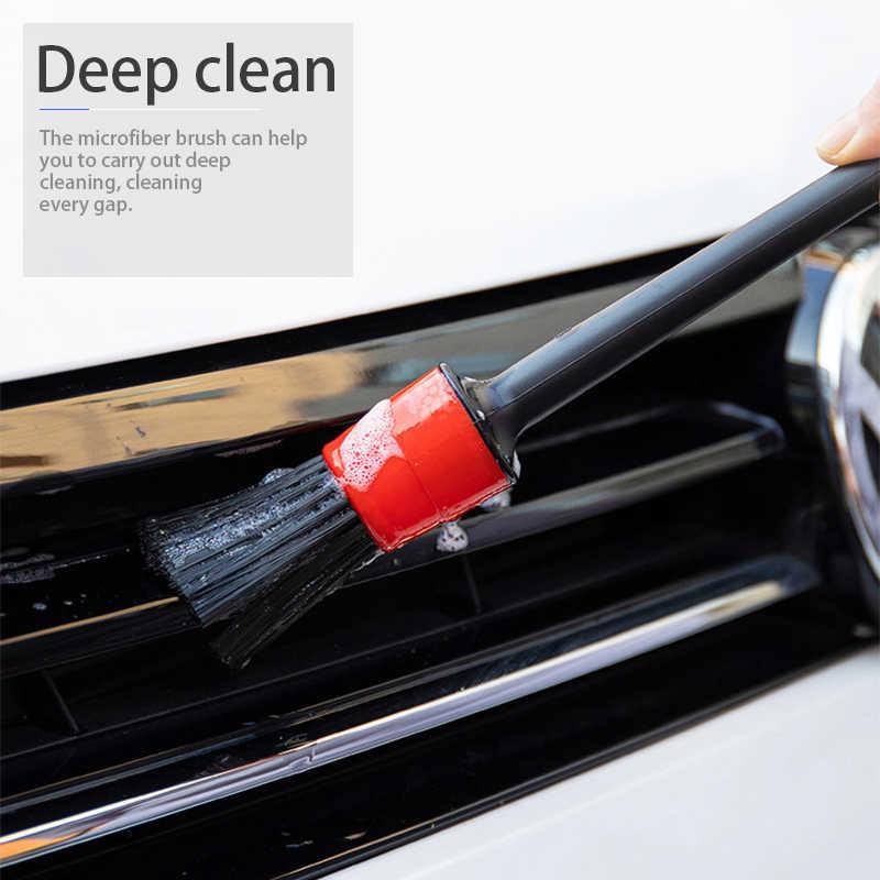 Juego de 5 uds. De brochas de limpieza para coche, instrumentos de limpieza de la rueda para el salpicadero, la salida de aire del coche