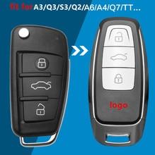 Coche modificado de llave de control remoto sin llave inteligente caso clave de actualización para Audi A3 A4 A6 A8 TT Q2 Q3 Q5 Q7 S3 A5 A7 RS3 funda de llave a distancia