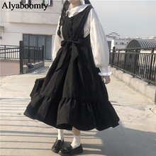 Japanese Harajuku Lolita Style Women Long Sundress Black Gray Blue Oversized Sleeveless Dress Cute Kawaii Ruffles Sashes Dresses