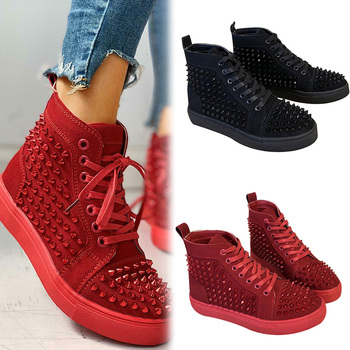 Solid Studded Eyelet Sneaker Lace-up Casual Flat Martin Boots for Women Studded Rivets Men Shoes British Style Round Toe фото