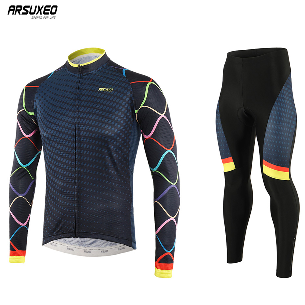ARSUXEO 2019 Men's Cycling Jersey Set Pro Team   Long sleeve Bike Uniform MTB jersey Bicycle Padded Pants Cycling Clothing z9t