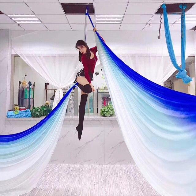 Nowy 15 jardów 13.7M Ombre Aerial Silk wysokiej jakości Gradational kolory Aerial Yoga Anti gravity do treningu jogi joga dla sportu