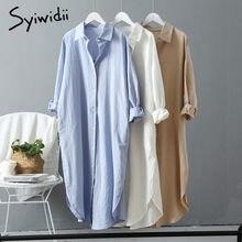 Syiwidii longue femme chemise robe coton coréen mode vêtements grande taille chemises robes printemps automne 2021 confortable Style ample