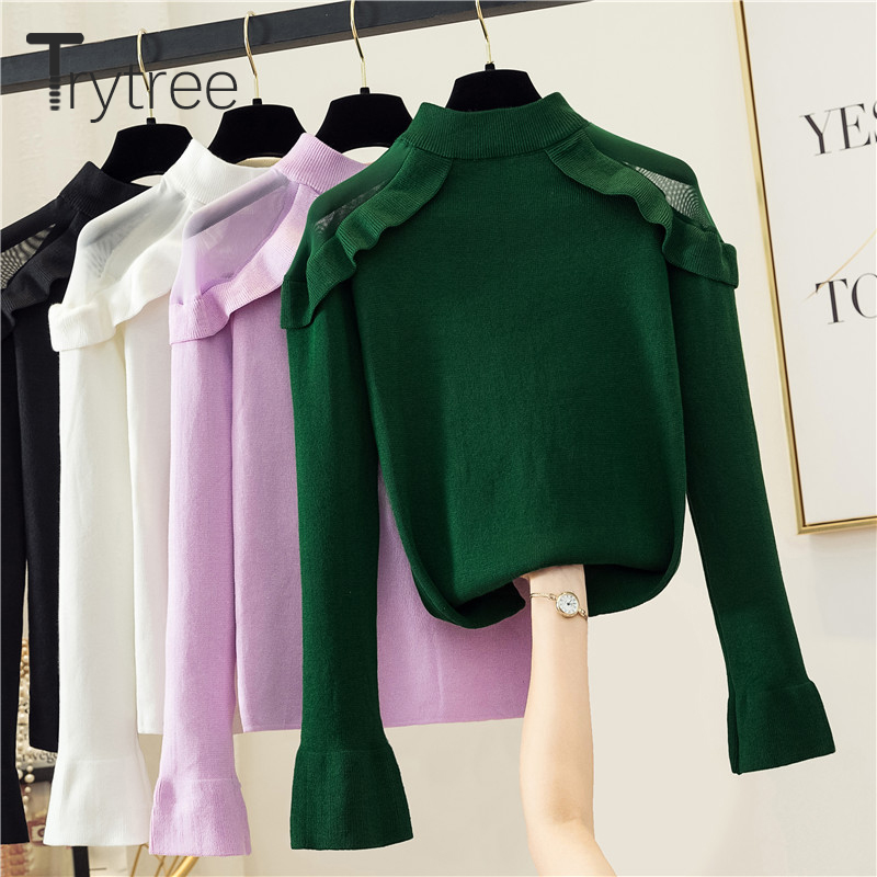 Trytree 2019 Autumn Winter Women Sweater Casual Solid Turtleneck Acrylic Ruffles Sweater Computer Knitwear Pullovers Sweater Top