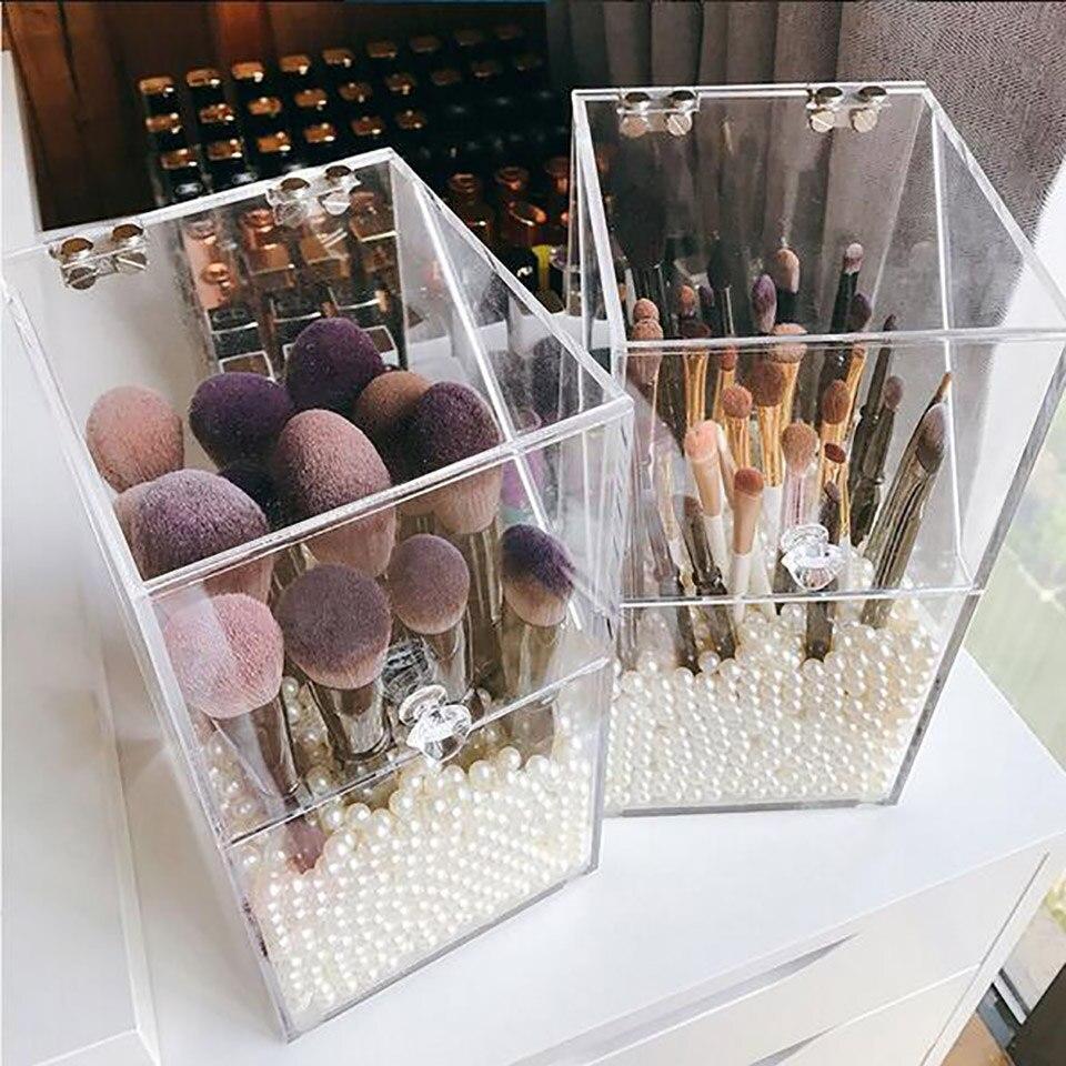 In Stock Transparent Acrylic Flip Makeup Brush Tube Dustproof Desktop Makeup Brush Storage Box Makeup Organizer