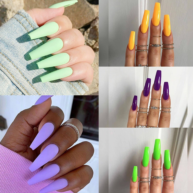 24pcs colourful and Long Ballerina Nails detachable False Nail Tips With Glue Press on Nails Art Fake nails Stickers