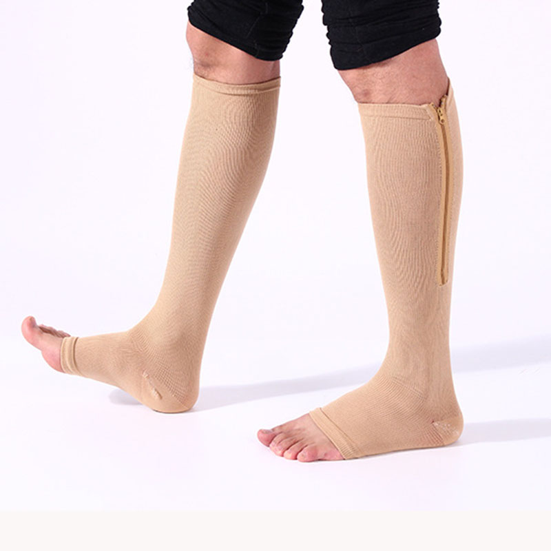 Men/Women Soft Zip Socks Anti-Fatigue Compression Socks Leg Support Medical Socks Unisex Comfortable Relief J