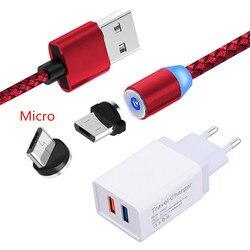 Магнитный зарядный кабель Micro USB для Samsung A10e S4 Huawei Y5 Y6 2018 Y9 2019 Honor 7A 8X Lenovo P2 K6 K8 A6600, светодиодное настенное зарядное устройство