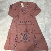 Autumn 2019 Women's New Fashion V neck Long Sleeve Embroidery Loose and Thin Ethnic Style Long Dress 06428024625