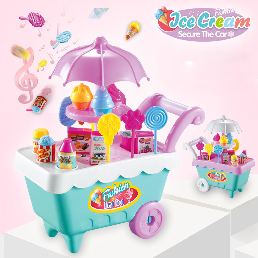 Funny Children's Ice Cream Trolley Cart Pretend-Play Candy Ice Cream Fruit Toy Sets For Girls For Birthday Gifts