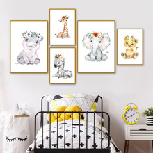 Nordic Posters And Prints Cute Elephant Giraffe Zebra Leopard Wall Art Canvas Painting Cartoon Pictures For Kids Room Decor