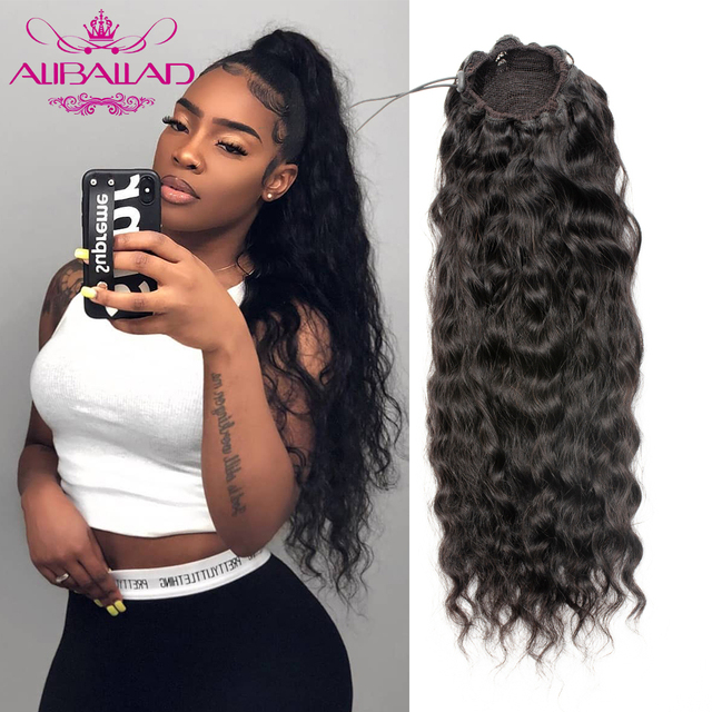 Aliballad, волнистые человеческие волосы на завязках, бразильские волосы с афро клипсой для наращивания, 2 расчески, натуральный волнистый конск...