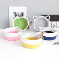 Chic Cotton Rope Storage Basket with Handle Nordic Cat Style Fruit Cosmetic Towel Book Handmade Storage Baskets Home Organizer