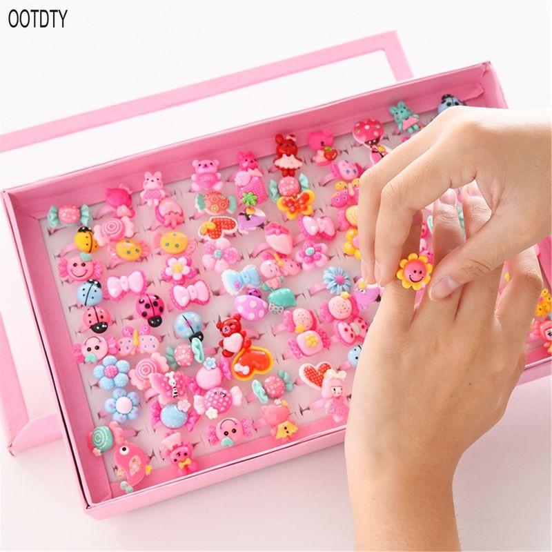 OOTDTY 10pcs/lot Children's Cartoon Rings Candy Flower Animal Bow Shape Ring Set Mix Finger Jewellery Rings Kid Girls Toys