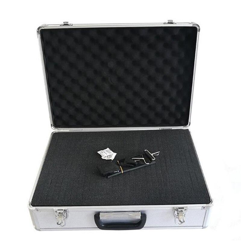 460x332x150mm Portable boîte à outils en alliage d'aluminium boîte de rangement de documents valise matériel équipement étui à instruments avec éponge