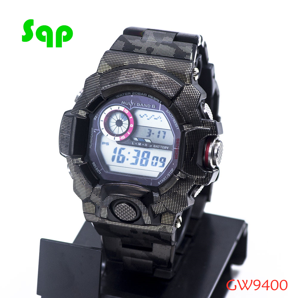 New Arrival GW9400 Stainless Steel Black Camouflage Watch Set Watchband Bezel/Case Metal