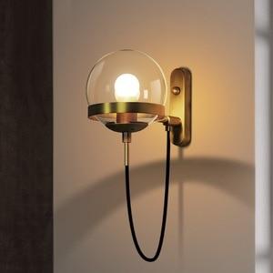 Image 2 - Lámparas de pared de estilo nórdico, candelabro moderno, accesorio de iluminación de pared, luz LED de escalera en forma esférica de vidrio Edison, estilo rústico y moderno