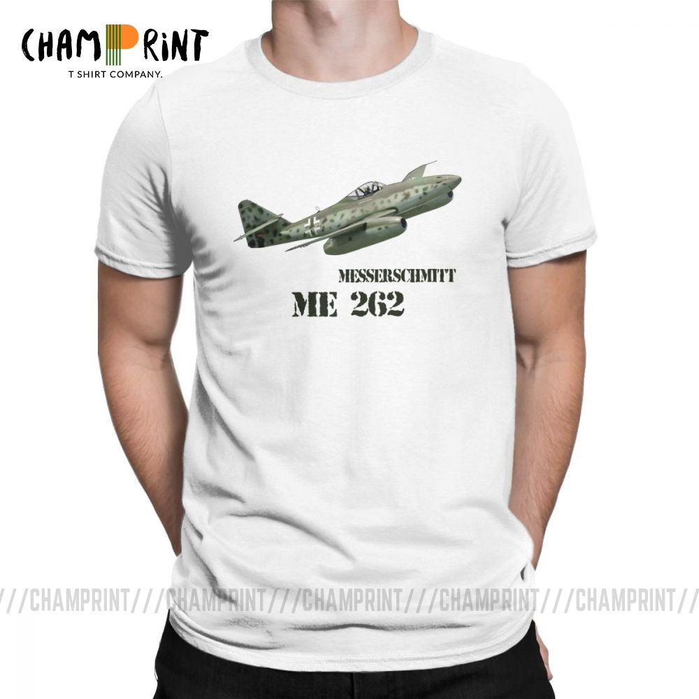 Wehrmacht Messerschmitt ME 262 T Shirts For Men Pure Cotton Novelty T-Shirt Round Collar Tees Short Sleeve Clothing Plus Size