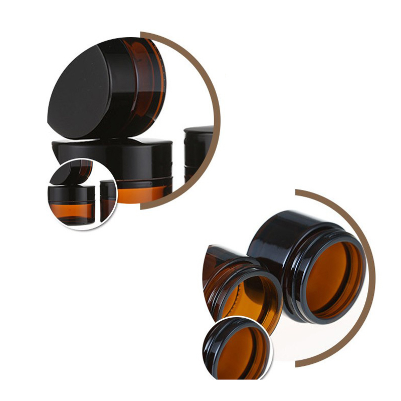 Image 4 - 20 шт 5 г 50 г янтарные стеклянные банки контейнеры косметический крем лосьон порошок КОРИЧНЕВЫЕ БУТЫЛКИ горшки для макияжа дорожные чехлы с черными крышкамиМногоразовые бутылки   -