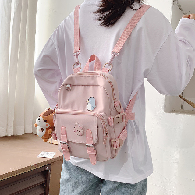 Korean Style Canvas Small Mini Backpack For Women Fashion Travel Backpack Leisure School Bag Tote For Tennage Girl Shoulder Bag 1