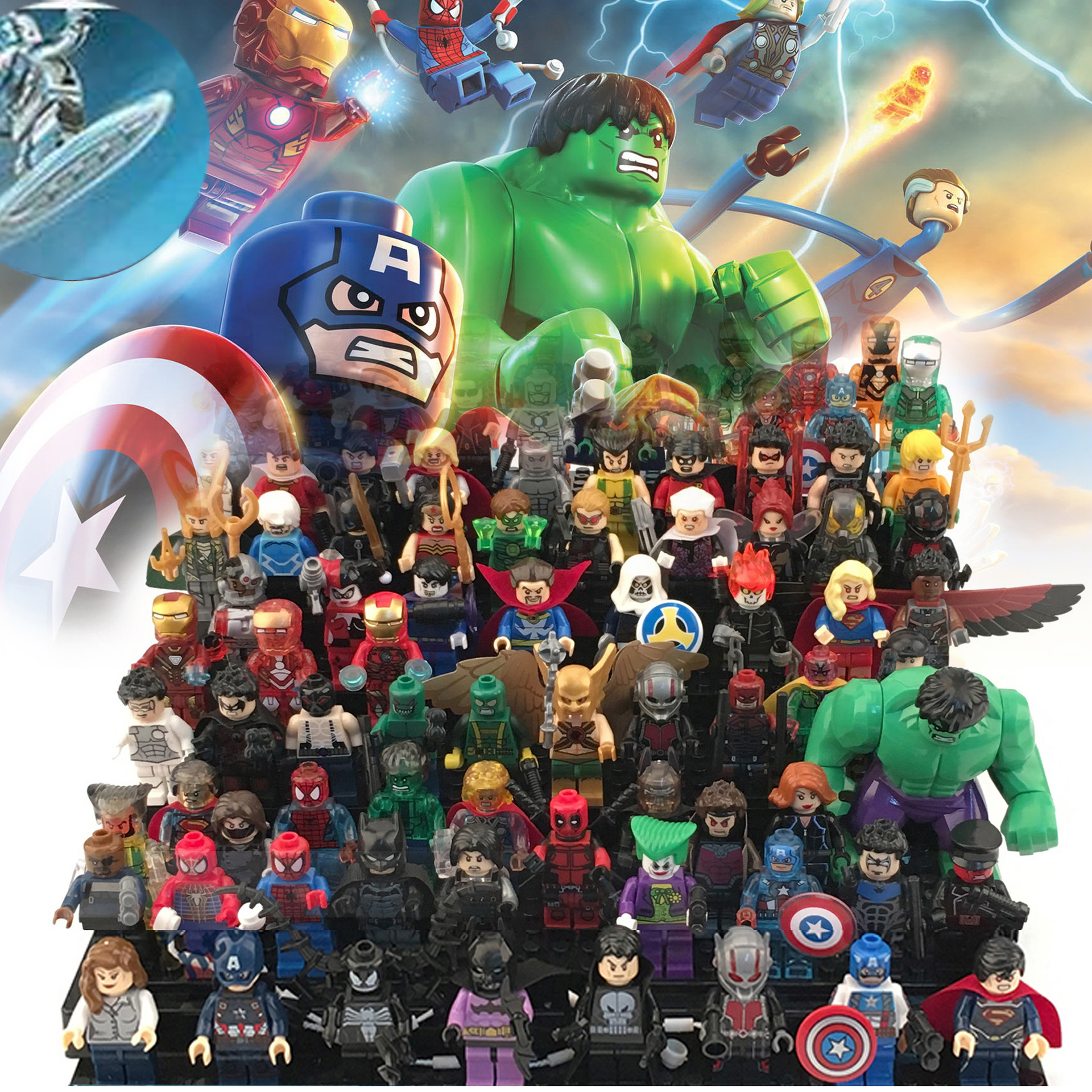 Super Heroes Avengers Building Blocks Hulk Iron Man Batman Spiderman Bricks Legoeings Minifigured Toys For Children Gift Dolls