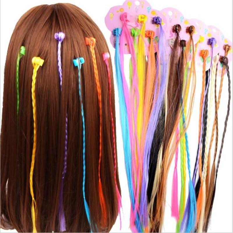 6pcs/lot Girls Colorful Wigs Ponytail Hair Ornament Hair Claw Hair Clips Twist Braid Headwear For Kids Girls Hair Accessories