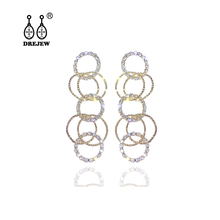 DREJEW Hip Hop Gold Silver Circle Crystal Statement Earrings Long Tassel 925 Drop Sets for Women Wedding Jewelry HE6301