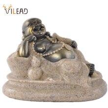 VILEAD natura kamień noc kairu Maitreya budda posągi religijne Laughing budda figurki ozdoby choinkowe dla domu Vintage