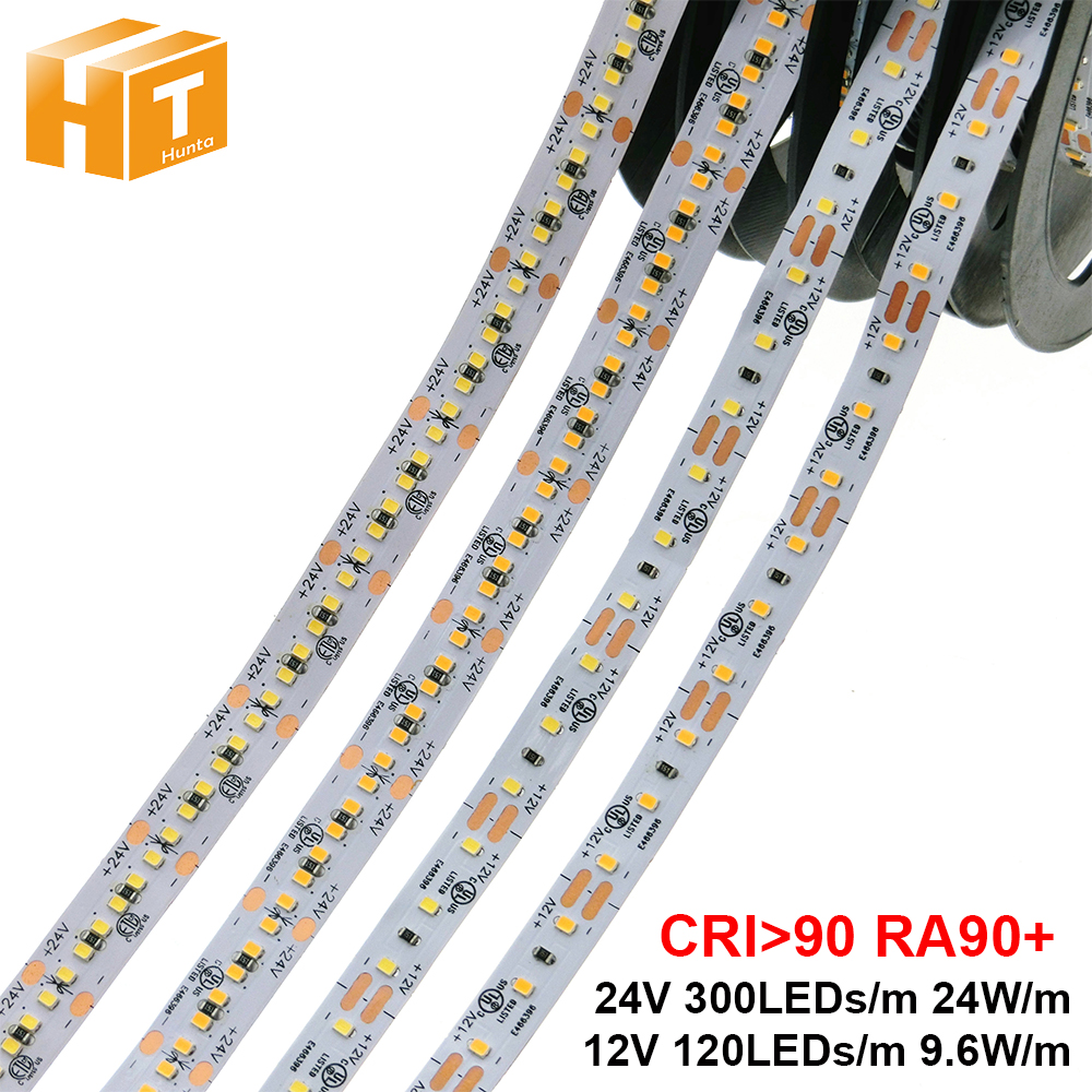 High End LED Strip 2216 RA90+ CRI>90 12V 120LEDs/m 9.6W/m 24V 300LEDs/m 24W/m 3000K 4000K 6000K High Brightness LED Strip 5m/lot