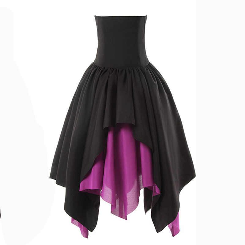 שחור & אדום תחרה עד חגורת ארוך סימטרי מימי הביניים קוספליי ויקטוריאני Steampunk חצאית בציר גותי בגדי חצאיות נשים