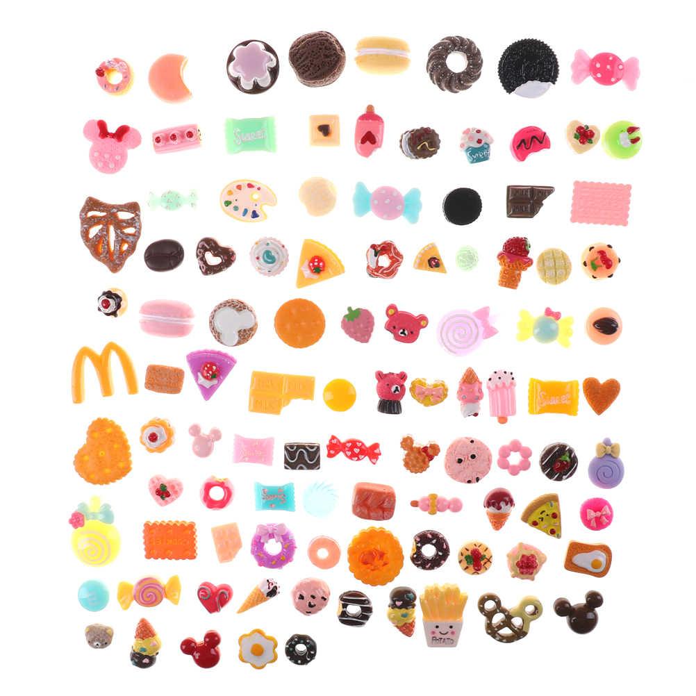 10 Uds Mini pasteles de comida Donuts queso galleta casa de muñecas miniatura decoración de cocina para niños chico envío al azar conjunto de alimentos mixtos