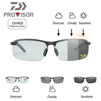2020 DAWA Fishing Glasses Photochromic Polarized Sunglasses Eyewear Men Windproof UV400 Sun DAIWA Discolored